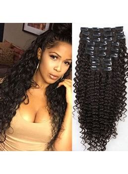 Clip In Hair Extension Frizzy Wave curly hair extensions clip in human hair extensions