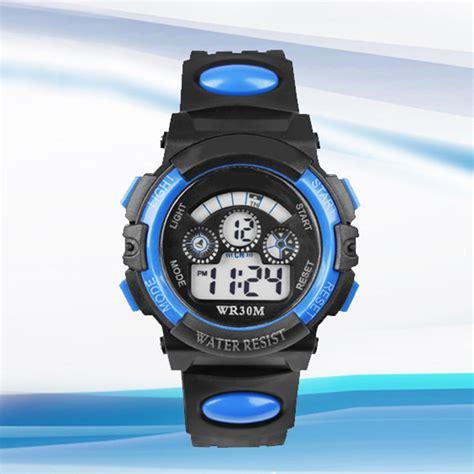 waterproof mens digital led quartz alarm date wrist