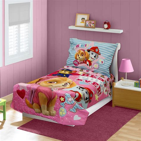 toddler girl comforter paw patrol skye bedding set toddler bed girls pink 4 piece