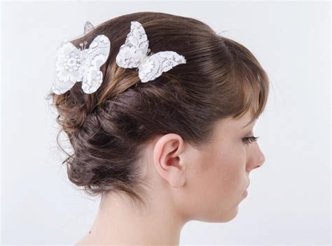 Butterfly Hair Accessories For Weddings by White Lace Butterfly Hair Pins Wedding Hair Accessories