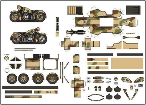 Ww2 Papercraft - papermau ww2 s motorcycle bmw r 75 paper model in 1 100