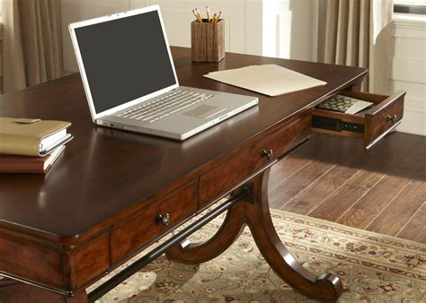 Writing Desks Home Office Brookview Home Office Writing Desk With Poplar Solids Cherry Birch Veneers In Rustic Cherry Finish