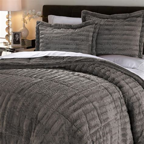 hsn concierge collection long faux fur comforter set