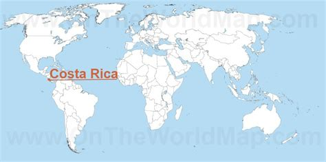 costa rica on map of world costa rica maps maps of costa rica ontheworldmap