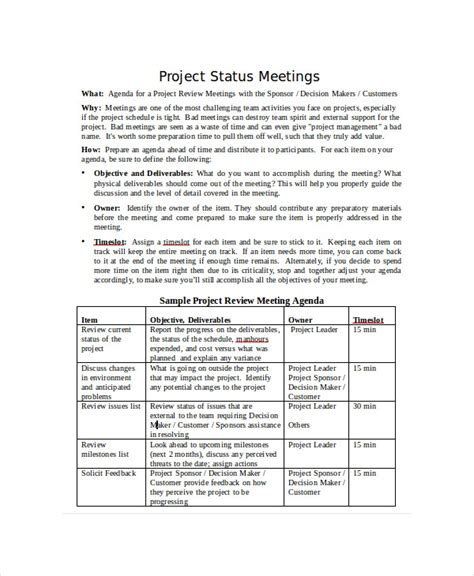 project status templates  sample