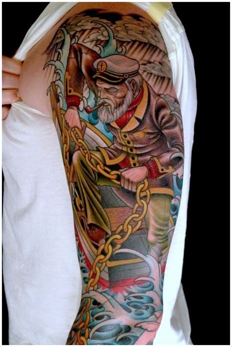 old school tattoo sleeve designs school sailor with a chain on half sleeve