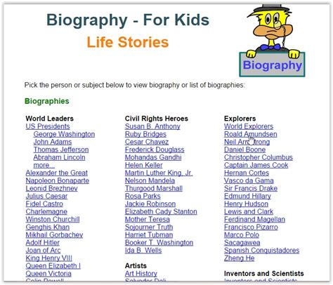Biography Websites For Students | 5 free websites to get biographies for kids