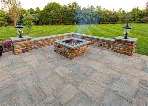 Ep Henry Pavers In Chiseled Stone Patio With Custom Square Ep Henry Pit