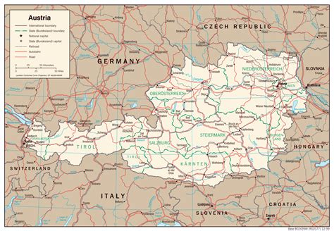 austria map with cities large detailed political and administrative map of austria