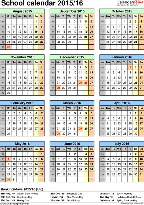 School Calendar 2015 School Calendars 2015 2016 As Free Printable Pdf Templates