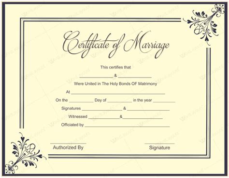 free printable marriage certificate template document templates february 2016