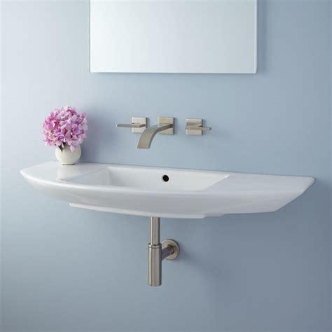 Wall mounted narrow bathroom sinks