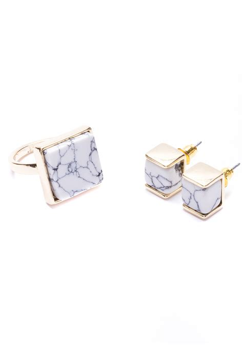 Marble Ring marble earrings and ring jewelry set happiness boutique