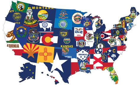 usa map states flags state flag best flag
