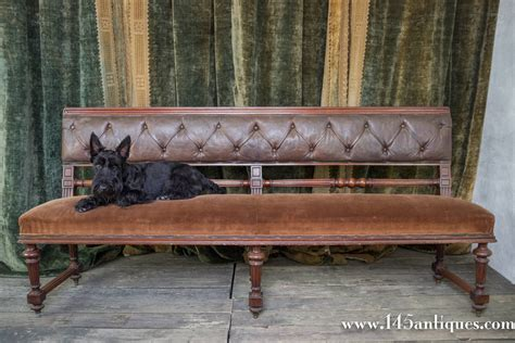 leather benches with back french mahogany bench with velvet seat and leather back