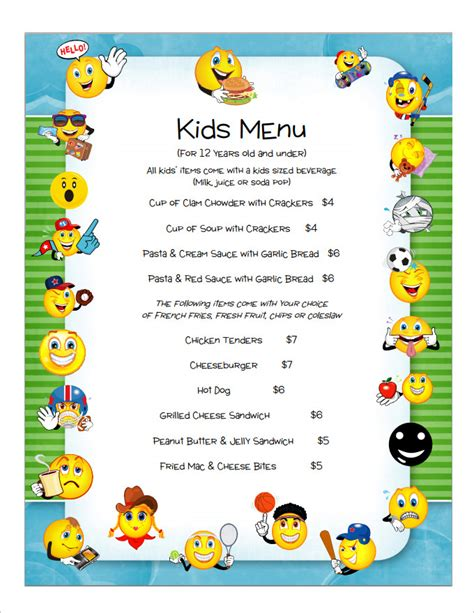 kid card template menu template templates station