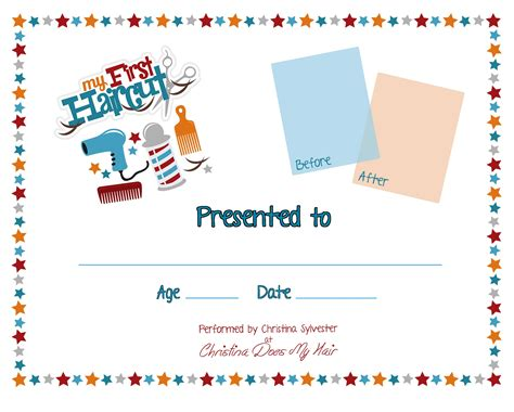 First Haircut Certificate Template White Professional And High Quality Templates Haircut Certificate Template