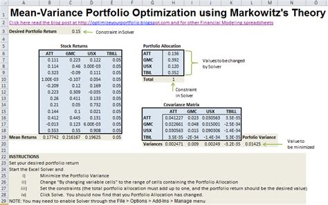 commercial model portfolio exle investment portfolio variance