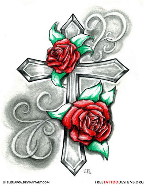 cross with a rose tattoo 50 cross tattoos designs of holy christian