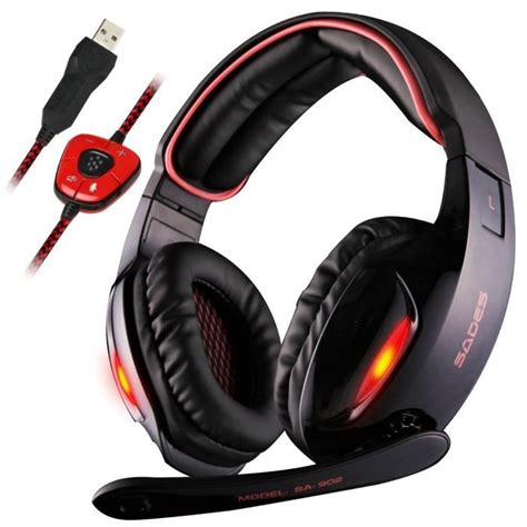 Headphone Model Gaming With Microphone Sn 281m casque gamer pour pc laptop sa 902 usb gaming headset avec micro 7 1 surround prix pas