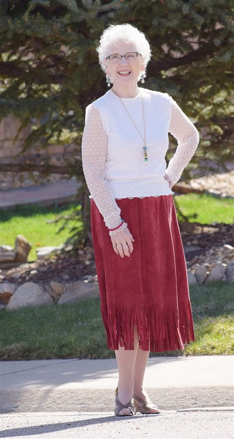 sixty old woman outfit fringe styled on different clothing items for women