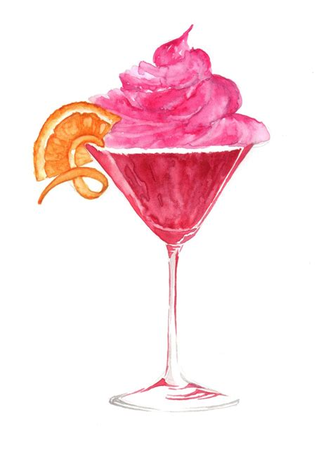 cosmopolitan drink drawing cosmopolitan cocktail cupcake watercolour http www