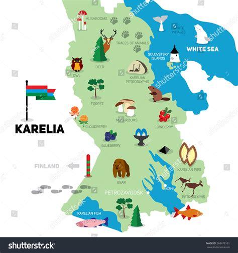 isotope layout event map karelia handdrawn illustration symbols tourist stock