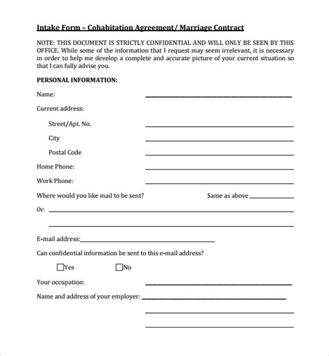 Living Together Agreement Template