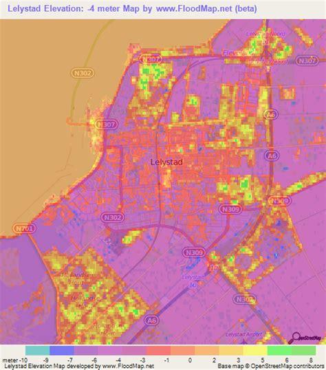 netherlands flood map elevation of lelystad netherlands elevation map