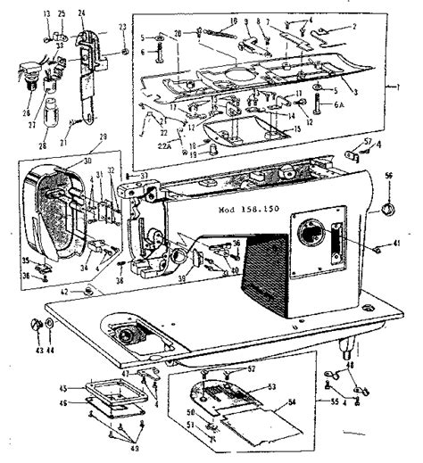kenmore sewing machine parts diagram base assembly diagram parts list for model 158150