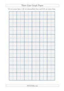 Three line graph paper with 2 5 cm major lines 1 25 cm intermediate