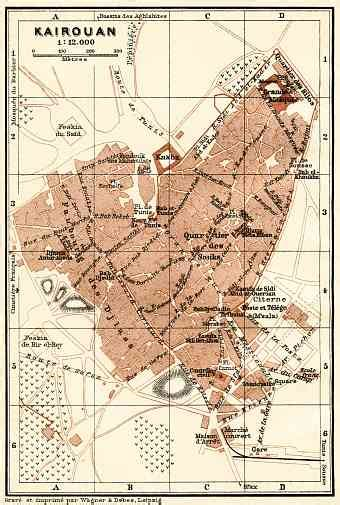 kairouan map tunisia vintage map reproduction prints and images for