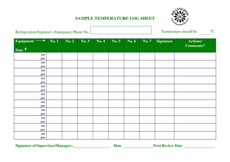 temperature chart template temperature log sheet