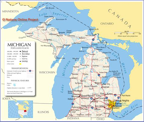 michigan in usa map map of michigan america maps map pictures