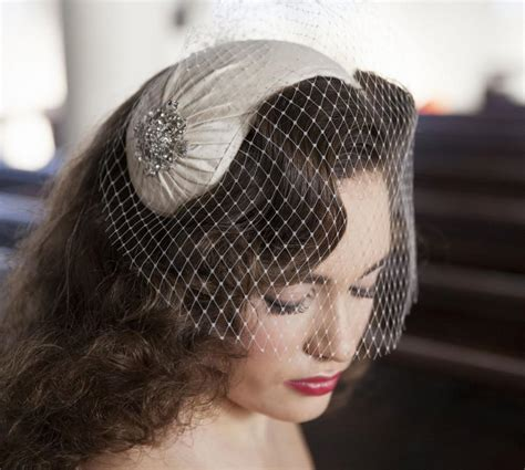 Wedding Hair Half Up With Birdcage Veil by 1950s Style Veil And Headpiece Half Hat And Birdcage