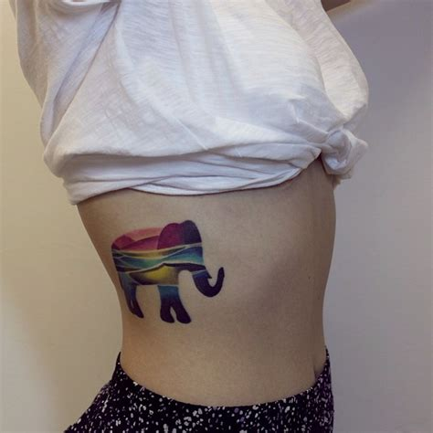 colorful elephant tattoo by sasha unisex