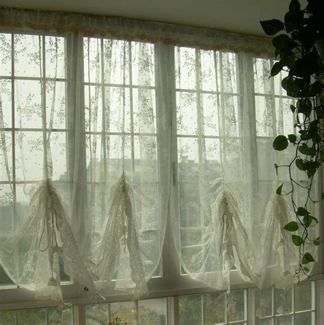 french cafe curtains french country lace austrian balloon shade sheer voile