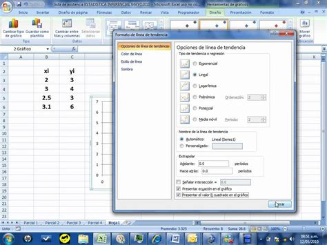 tutorial excel regresion lineal regresion lineal en excel ejemplo 2 youtube