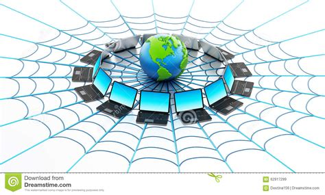 foto web global computer network with a spider web stock