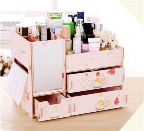 Rak Kosmetik Cermin Plus Tempat Tissue jual rak kayu kosmetik 058 cermin tissue diy cosmetic storage organizer dealkeren