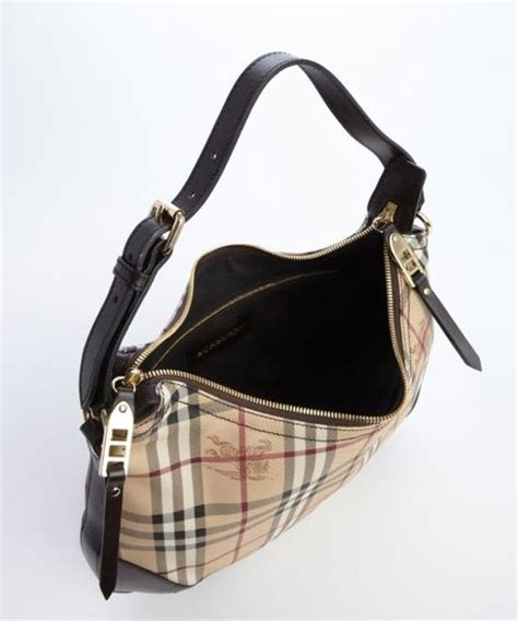 Burberry Canvas Shoulder burberry brown leather accent check canvas shoulder bag in brown lyst