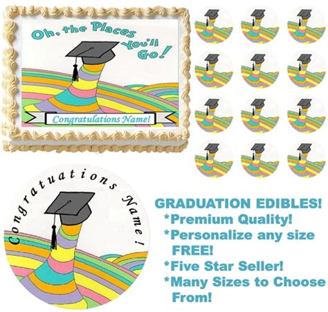 OH THE PLACES YOU'LL GO Graduation Edible Cake Topper