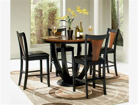 Cherry Wood Dining Table Set 5 Pc Black Cherry Wood Counter Dining Set Table Chairs Leather Contemporary Dining