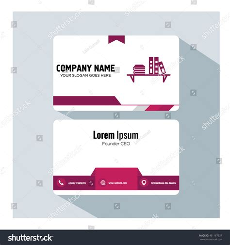 business card icon template business card template bookcase icon stock vector