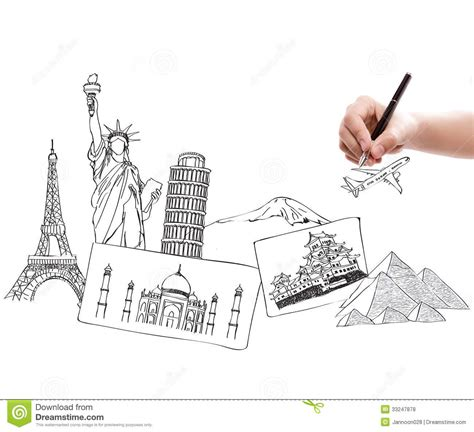 sketch your world drawing 1845435141 drawing travel around the world royalty free stock photos