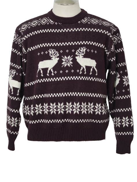 mens pattern christmas jumper 1980 s mens christmas ski sweater 80s authentic vintage