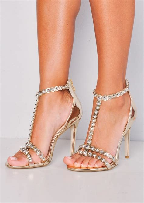 High Heels Gold metallic bead studded strappy high heeled sandals gold