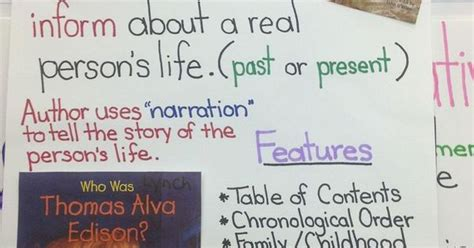 biography text features text features of a biography great library anchor chart