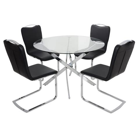 glass top dining table set with 4 black chairs