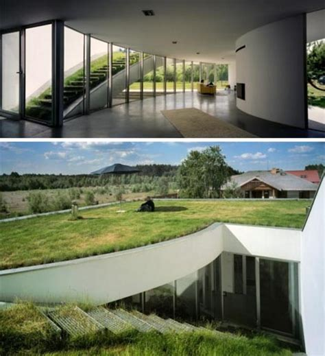 modern green unique underground home design plan